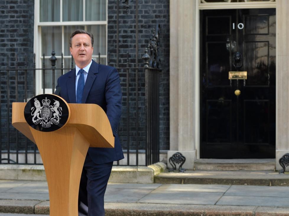 Premier Wielkiej Brytanii David Cameron wygłasza przemówienie 24 czerwca