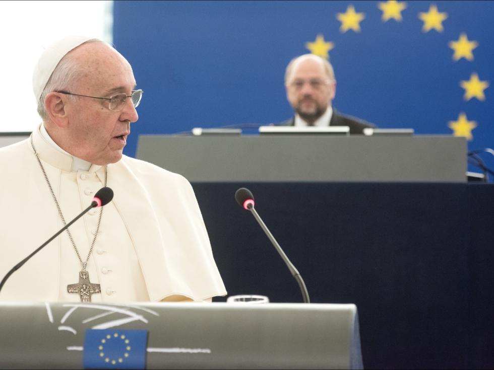 Papież Franciszek w Parlamencie Europejskim w Strasburgu 25 listopada 2014 r.