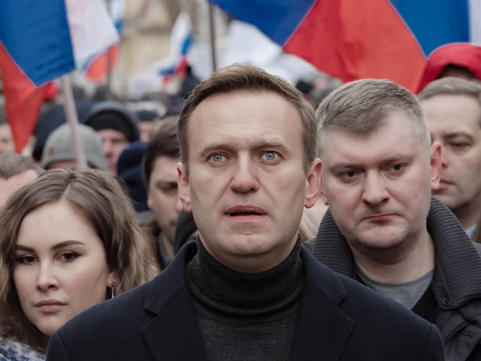 Aleksiej Nawalny na marszu pamięci Borysa Niemcowa