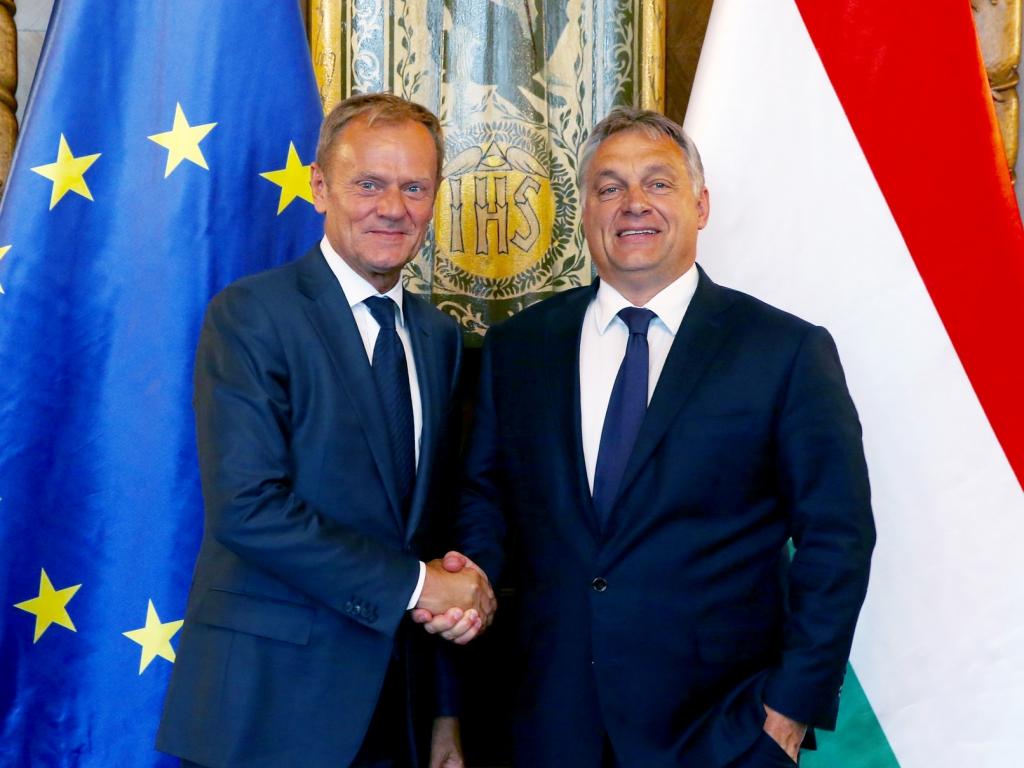 Przewodniczący Rady Europejskiej Donald Tusk i premier Węgier Viktor Orbán