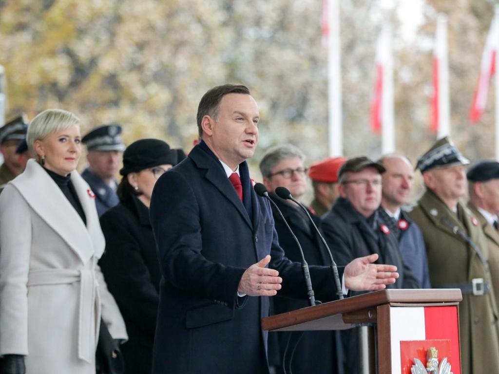 Wystąpienie prezydenta Andrzeja Dudy na placu Piłsudskiego 11 listopada
