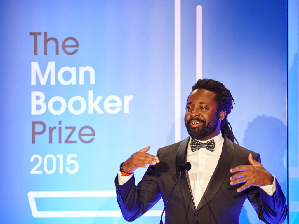 Marlon James podczas gali Nagród Bookera 2015
