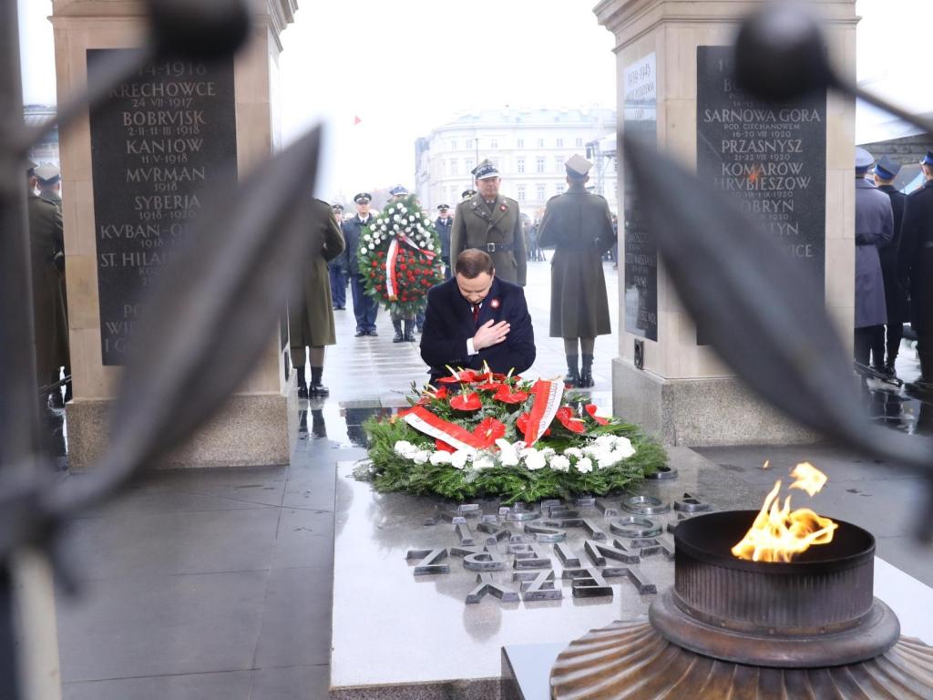 Andrzej Duda przy Grobie Nieznanego Żołnierza podczas obchodów Święta Niepodległości 11 listopada