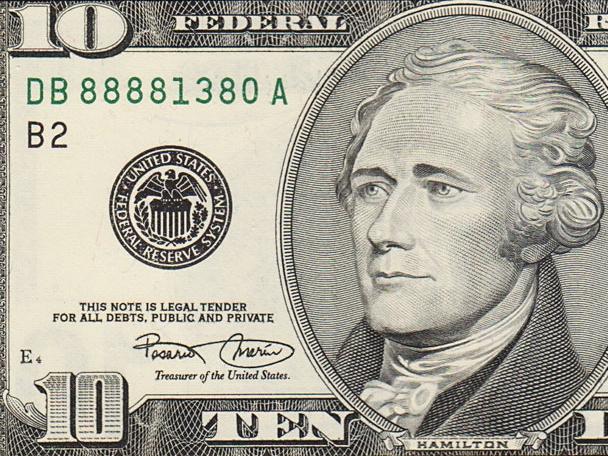 Alexander Hamilton na 10-dolarowym banknocie