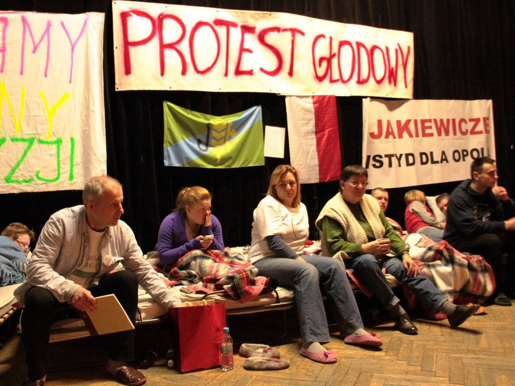 Strajk głodowy prowadzony w Gminnym Ośrodku Kultury w Dobrzeniu Wielkim