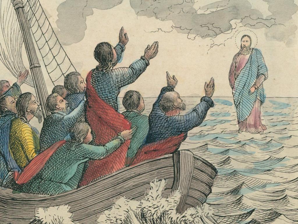 Chrystus Pan idzie po morzu i zbliża się do apostołów