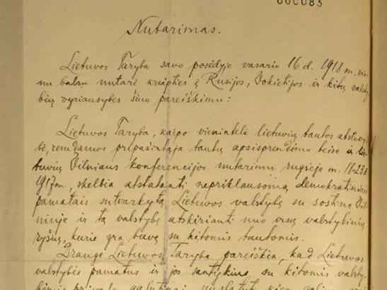 Fragment odnalezionego Aktu Niepodległości Litwy