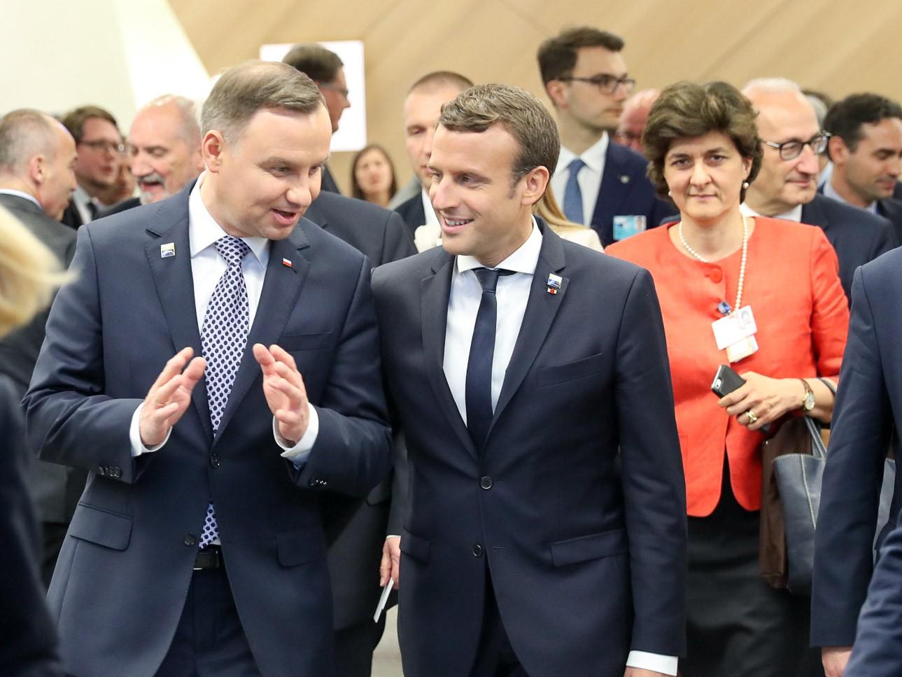 Prezydenci Polski i Francji Andrzej Duda i Emmanuel Macron