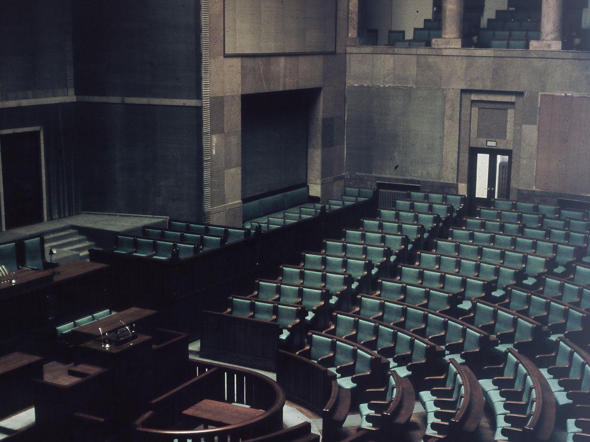 Wnętrza budynku Sejmu w Warszawie, koniec lat 60