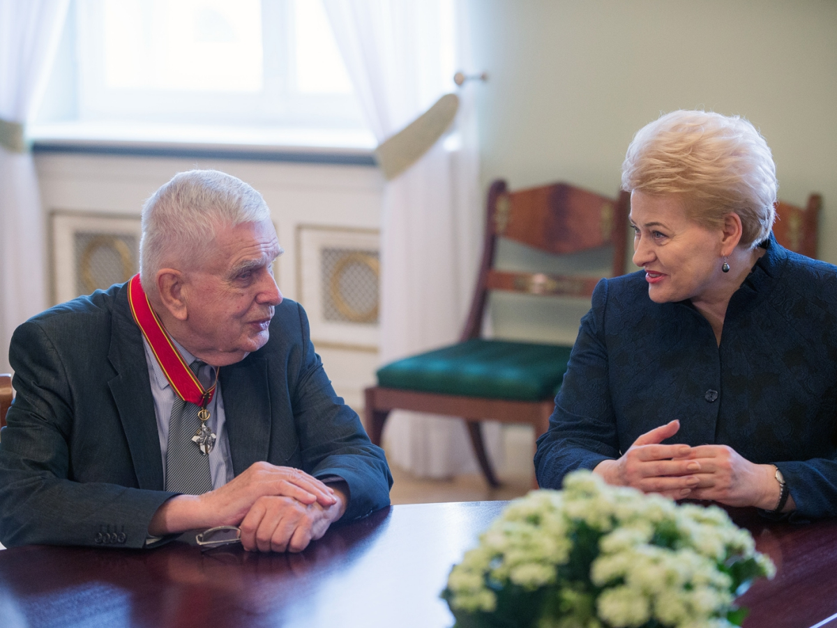 Tomas Venclova i prezydent Litwy Dalia Grybauskaitė