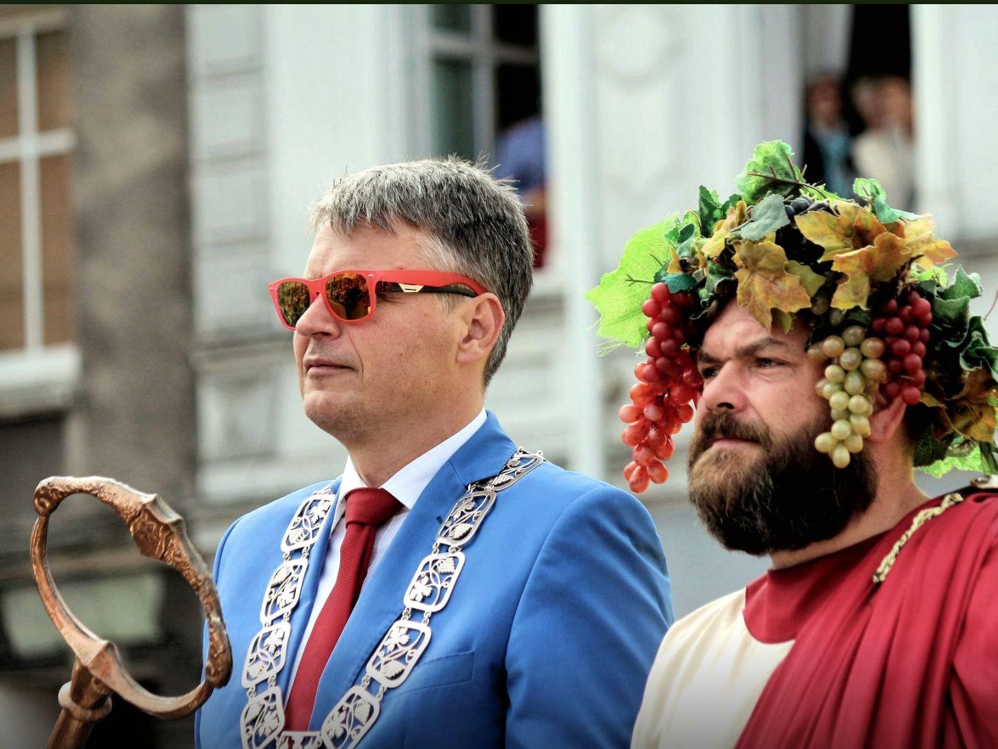 Prezydent Zielonej Góry Janusz Kubicki i Wielki Bachus, Winobranie 2017