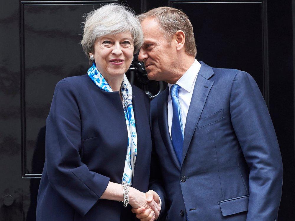 Premier Wielkiej Brytanii Theresa May i przewodniczący Rady Europejskiej Donald Tusk