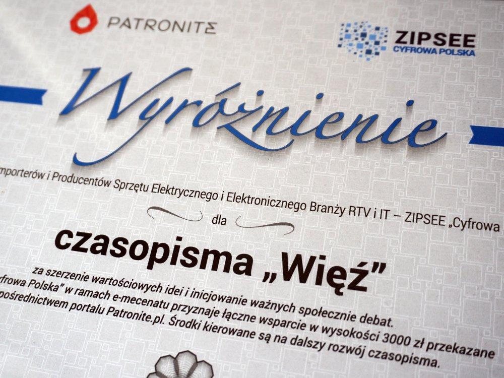 """""""Więź"""" wyróżniona przez ZIPSE """"Cyfrowa Polska"""""""