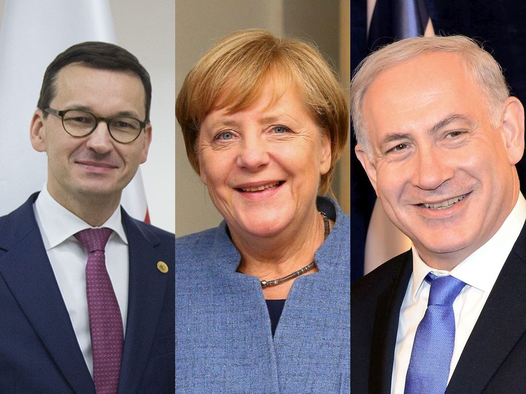 Mateusz Morawiecki, Angela Merkel, Benajamin Netanjahu