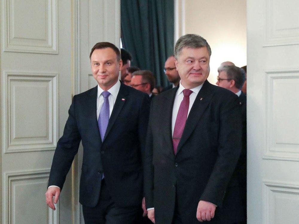 Prezydenci Polski i Ukrainy Andrzej Duda i Petro Poroszenko