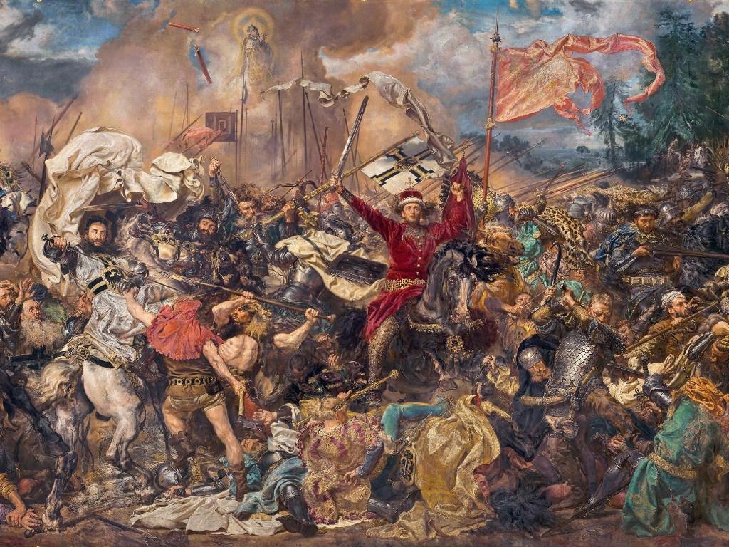 "Fragment obrazu ""Bitwa pod Grunwaldem"" Jana Matejki (1878)."