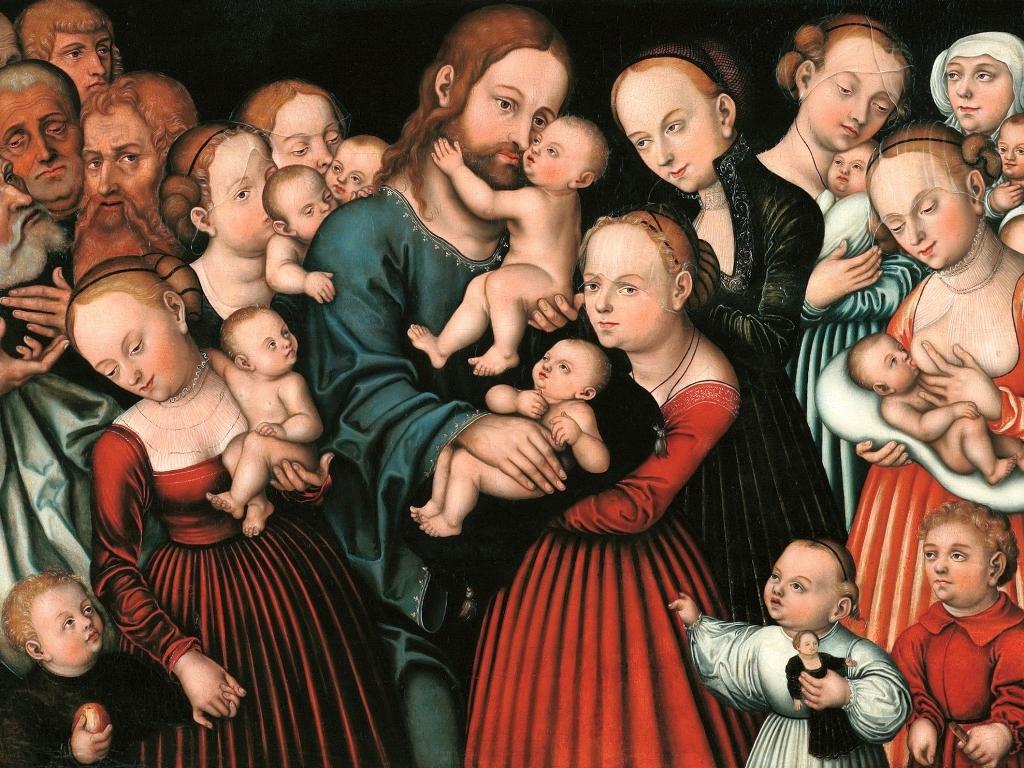 """Fragment obrazu """"Jezus błogosławi dzieci"""" Lucasa Cranacha the Eldera, 1537"""