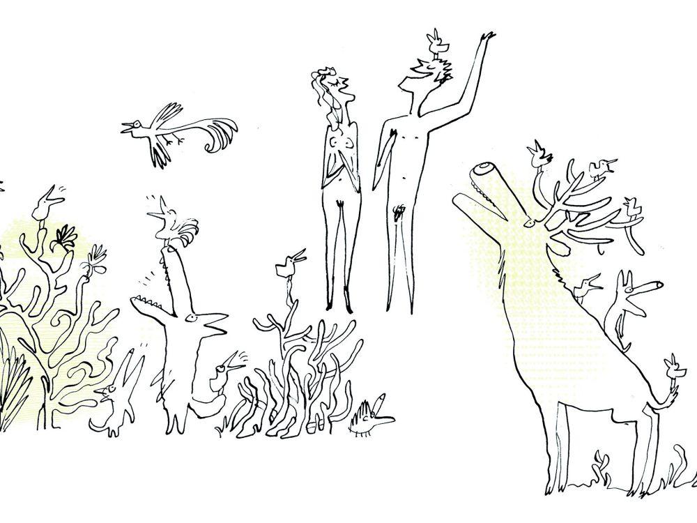 """Ilustracja Serge'a Blocha z rozdziału """"Stworzenie świata"""", umieszczona w książce """"Biblia. Wielkie opowieści Starego Testamentu"""""""
