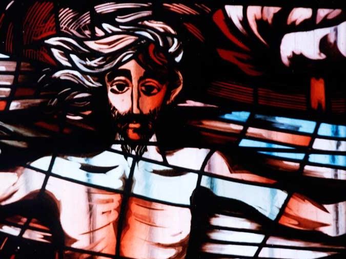 Witraż autorstwa Teresy Reklewskiej w sanktuarium św. Andrzeja Boboli w Warszawie. Fot. witraże.info
