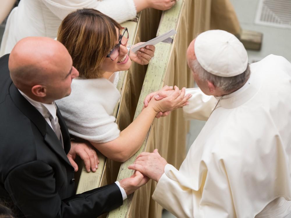 Papież Franciszek podczas cotygodniowej audiencji generalnej