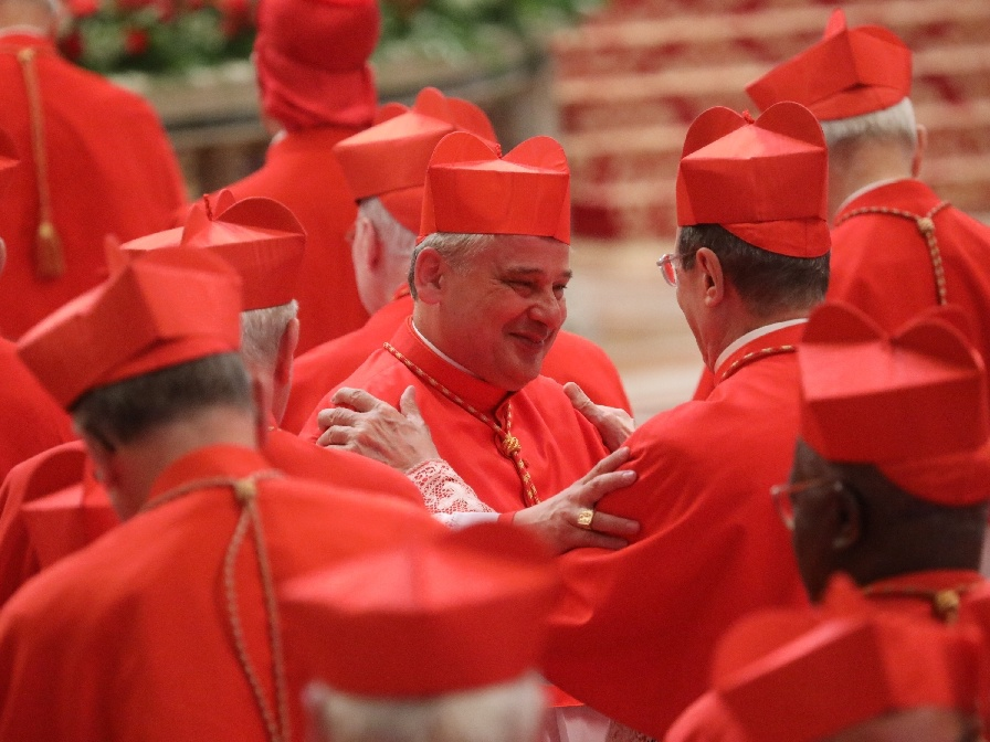 Kard. Konrad Krajewski podczas konsystorza w Watykanie 28 czerwca 2018 r.