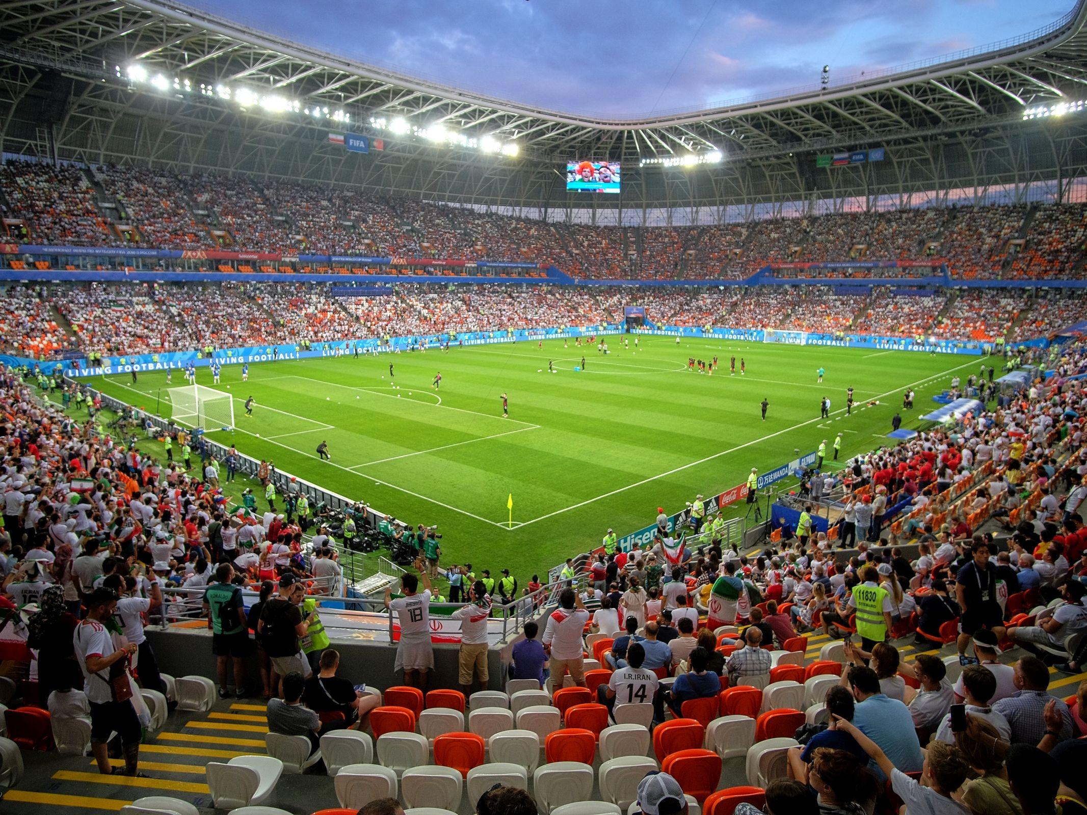 Stadion w Sarańsku tuż przed rozpoczęciem meczu grupowego mistrzostw świata w Rosji Iran-Portugalia, 25 czerwca 2018 r.
