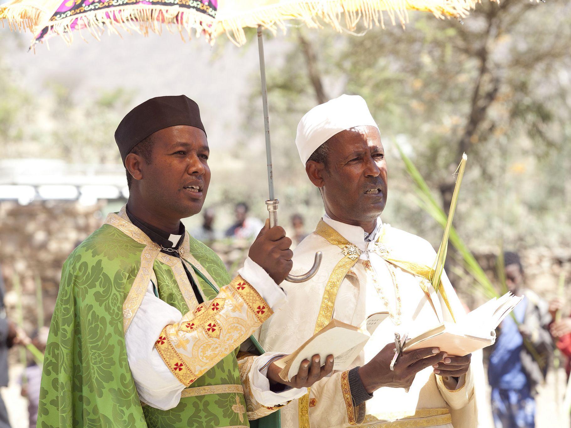 Katolicka liturgia niedzieli palmowej w Etiopii