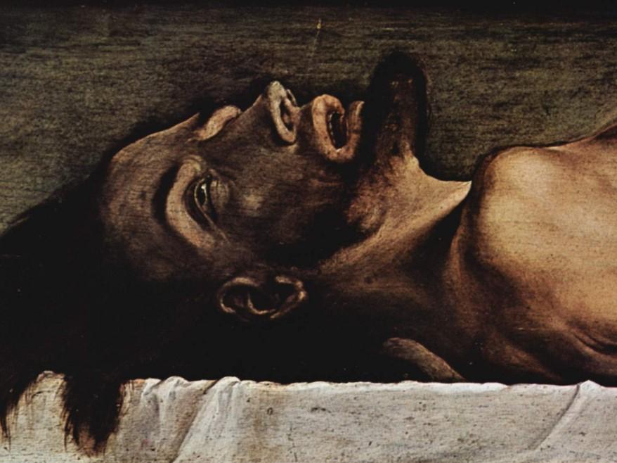 """Fragment obrazu """"Chrystus w grobie"""" Hansa Holbeina młodszego z 1521-22 roku"""