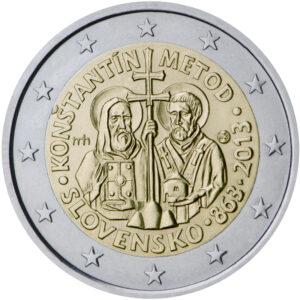 Słowacka moneta o nominale 2 EUR, upamiętniająca 1150. rocznicę misji Cyryla i Metodego w Państwie Wielkomorawskim