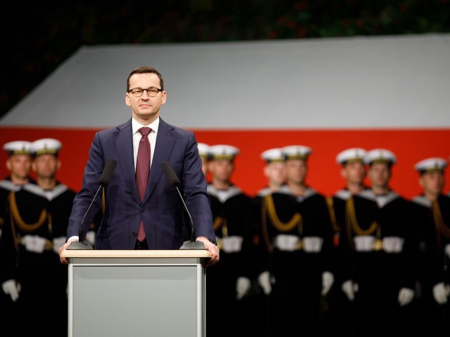 Premier Mateusz Morawiecki podczas uroczystości z okazji 79. rocznicy wybuchu II wojny światowej 1 września 2018 r. na Westerplatte