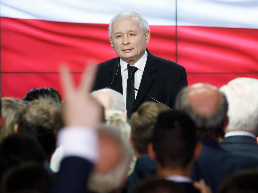 Jarosław Kaczyński podczas wieczoru wyborczego Prawa i Sprawiedliwości. Warszawa, 21 października 2018 r.