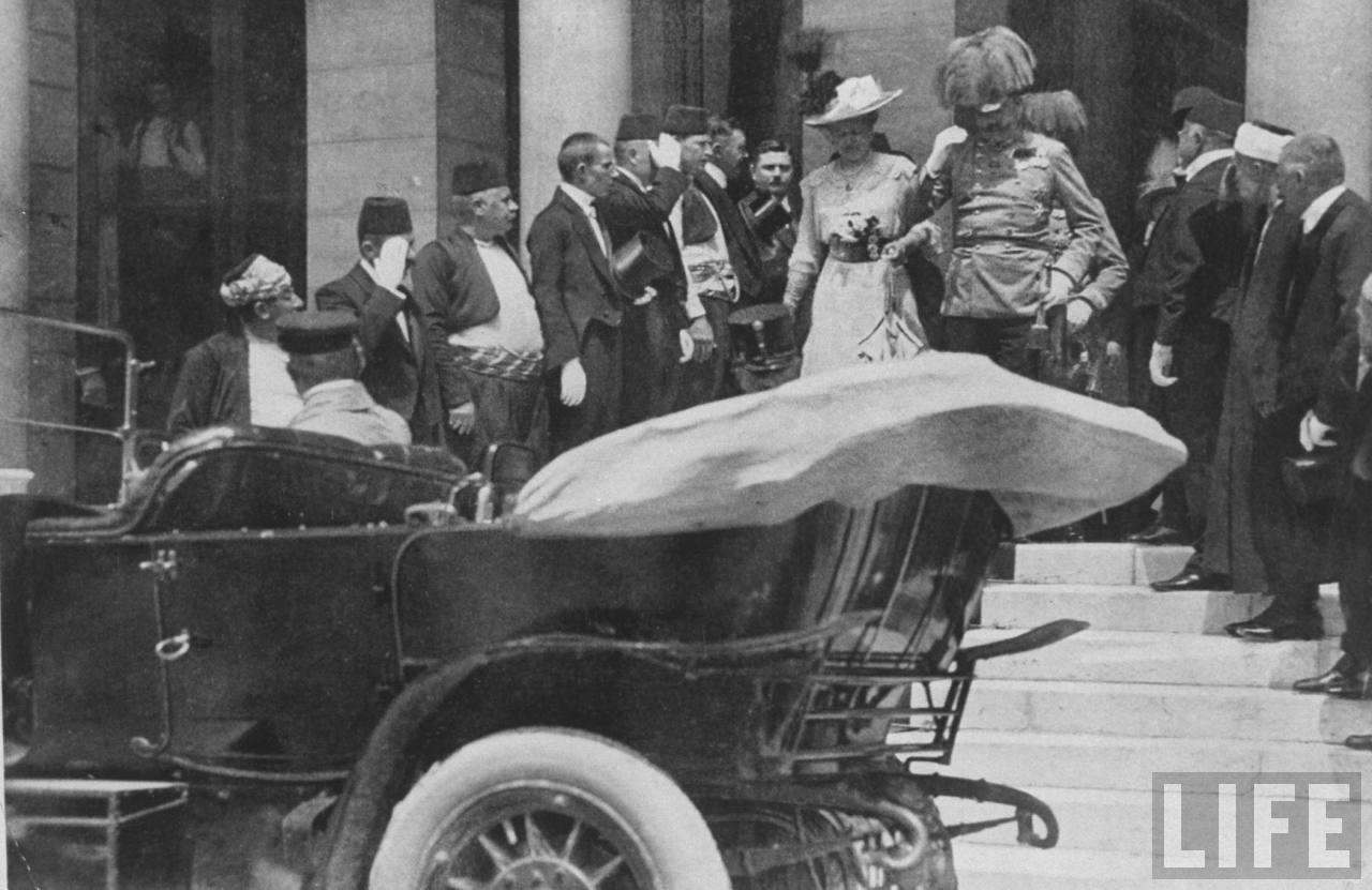 Arcyksiążę Franciszek Ferdynand Habsburg wraz z małżonką Zofią von Chotek