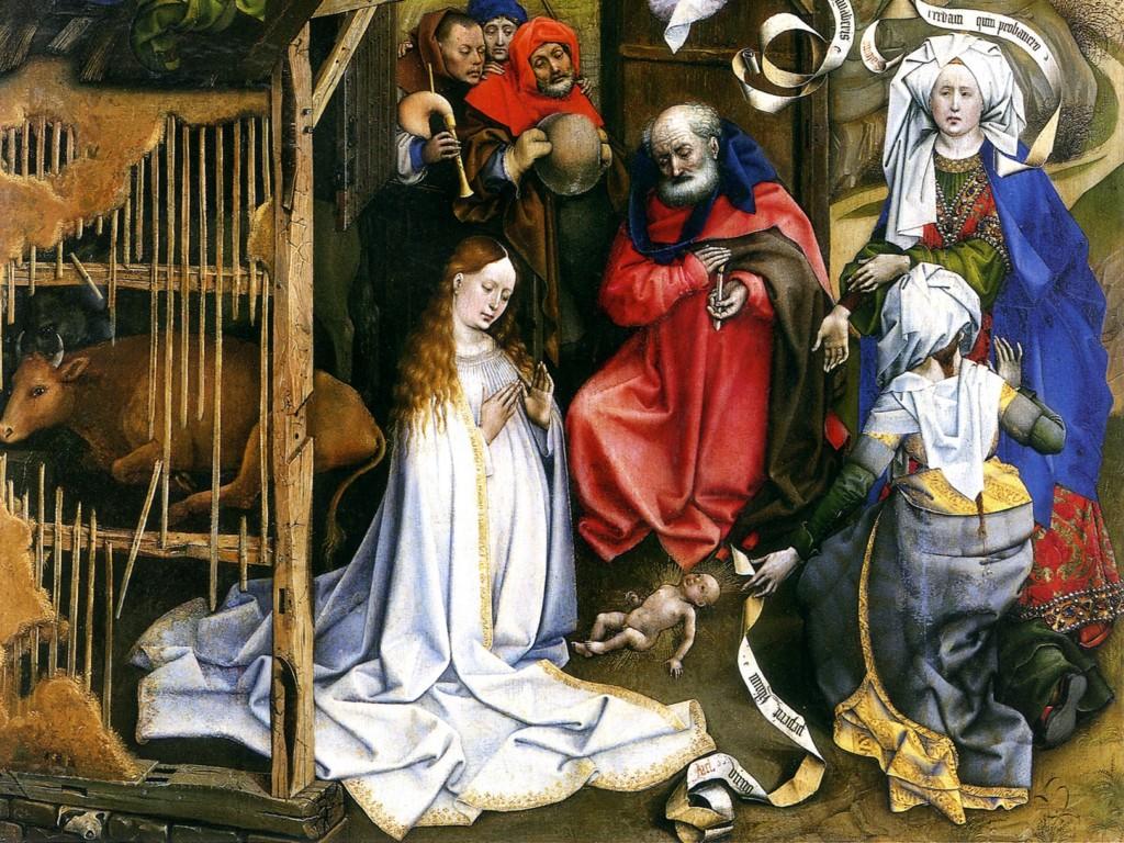 """Fragment obrazu """"Boże Narodzenie"""" Roberta Campina, ok. 1425"""