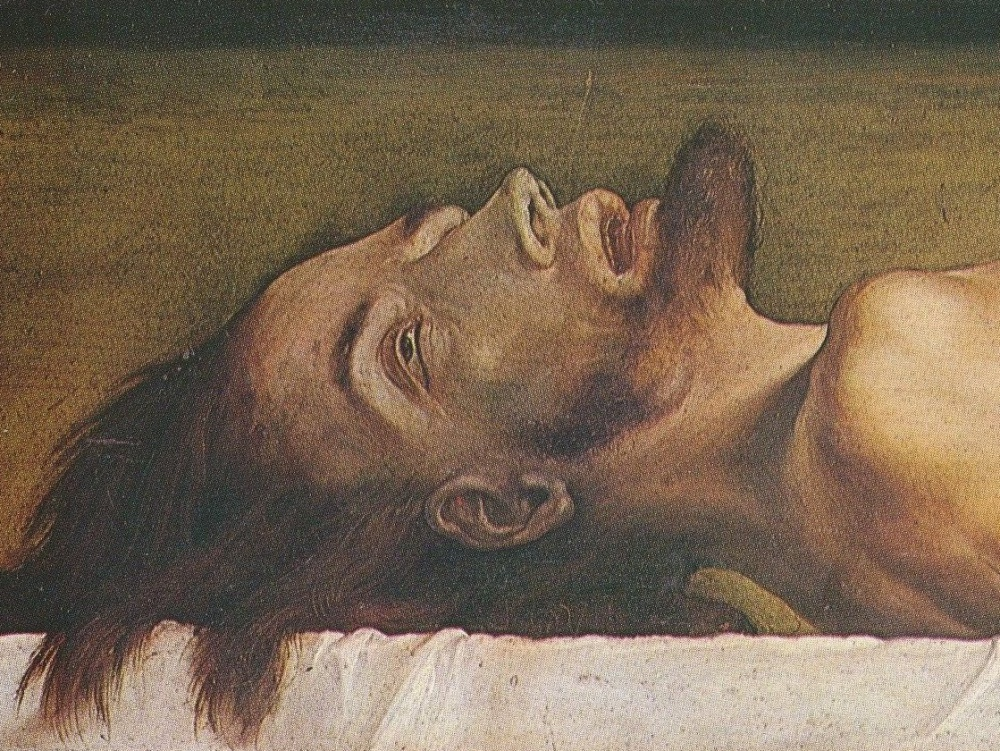 "Fragment obrazu ""Chrystus w grobie"" Hansa Holbeina, 1520-1522"