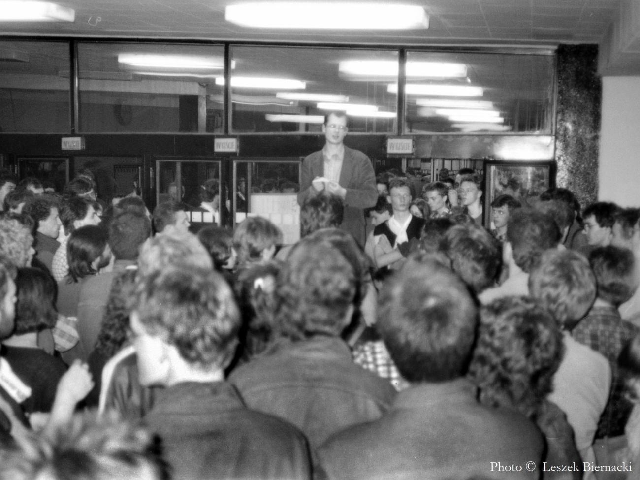 Paweł Adamowicz podczas strajku na Uniwersytecie Gdańskim