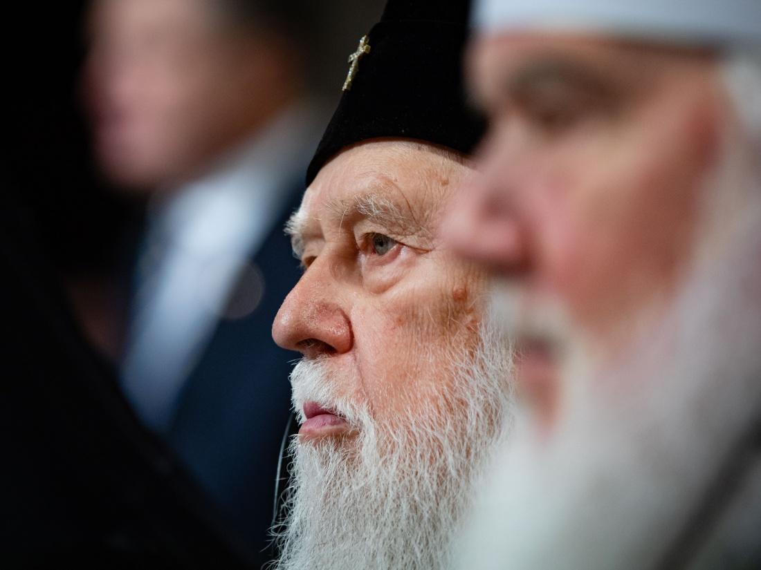 Patriarcha Filaret w Kijowie 15 grudnia 2018 r., gdy powstał Autokefaliczny Kościół Prawosławny na Ukrainie