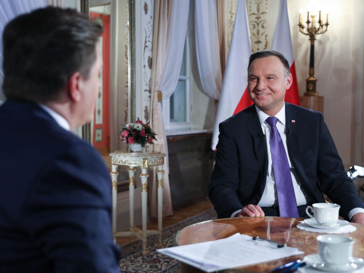 """Prezydent Andrzej Duda w programie """"Wydarzenia i Opinie"""" Bogdana Rymanowskiego w Polsat News 5 lutego 2019 r."""