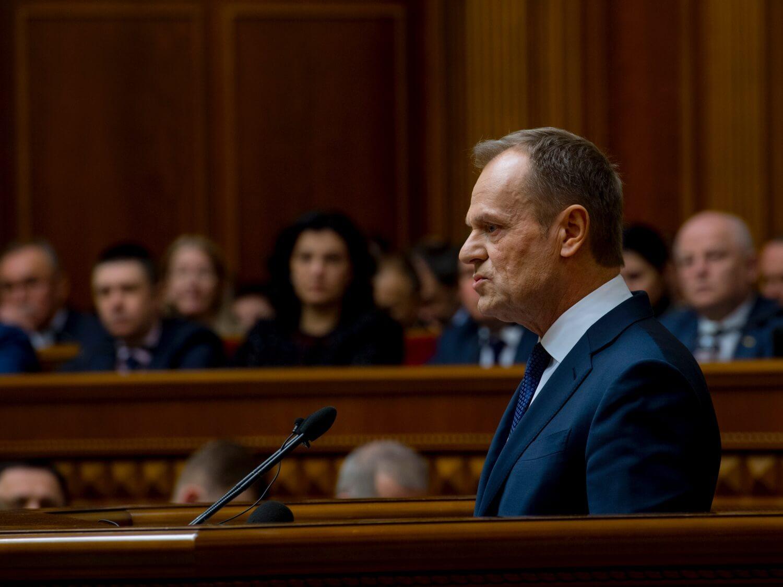 Przewodniczący Rady Europejskiej Donald Tusk przemawia w Radzie Najwyższej Ukrainy w Kijowie 19 lutego 2019 r.