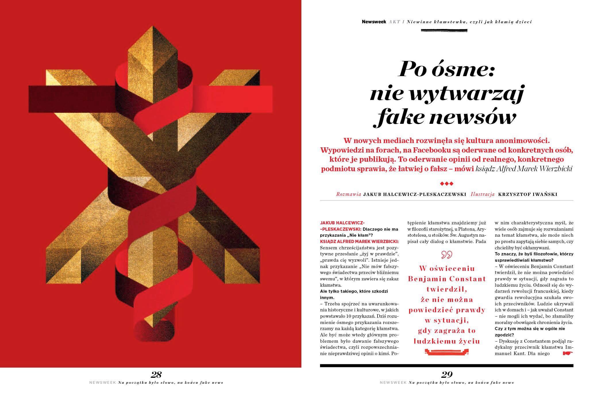 """Rozmowa z ks.Alfredem Markiem Wierzbickim w specjalnym wydaniu """"Newsweek Polska"""" – """"Fake news"""""""