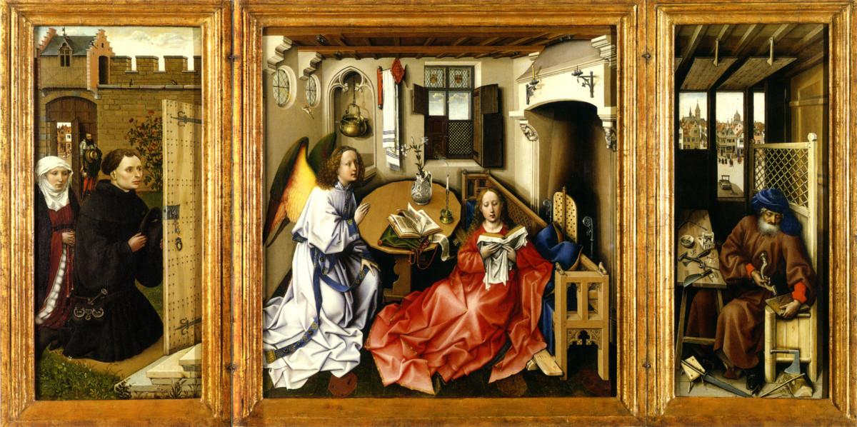 "Robert Campin, ""Tryptyk de Mérode"", 1420-1428"