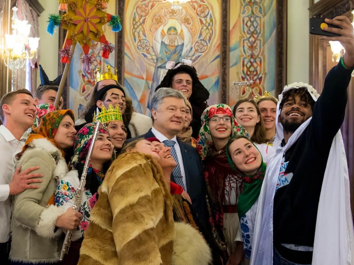 Prezydent Ukrainy Petro Poroszenko podczas spotkania ze studentami Ukraińskiej Akademii Przywództwa 19 stycznia 2019 r.