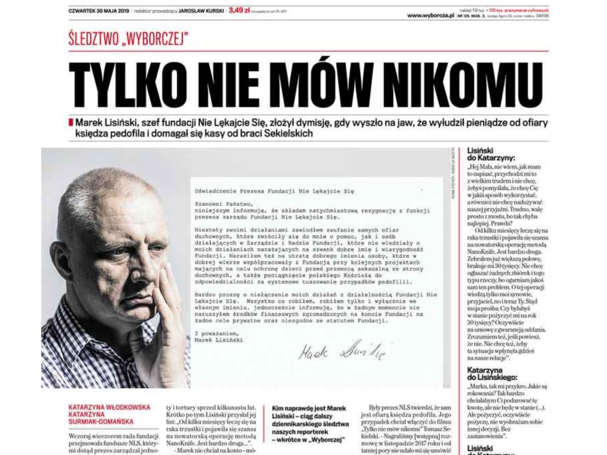 """Po tekście """"Gazecie Wyborczej"""" Marek Lisiński rezygnuje z funkcji szefa Fundacji """"Nie lękajcie się"""""""