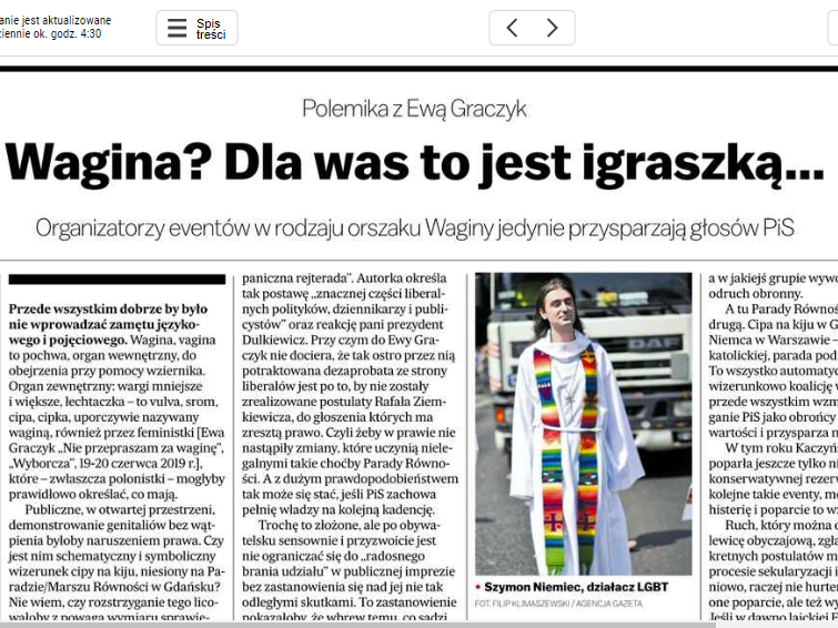 """Tekst Ernesta Skalskiego """"Wagina? Dla was to jest igraszką…"""" ukazał się 24 czerwca w """"Gazecie Wyborczej"""""""