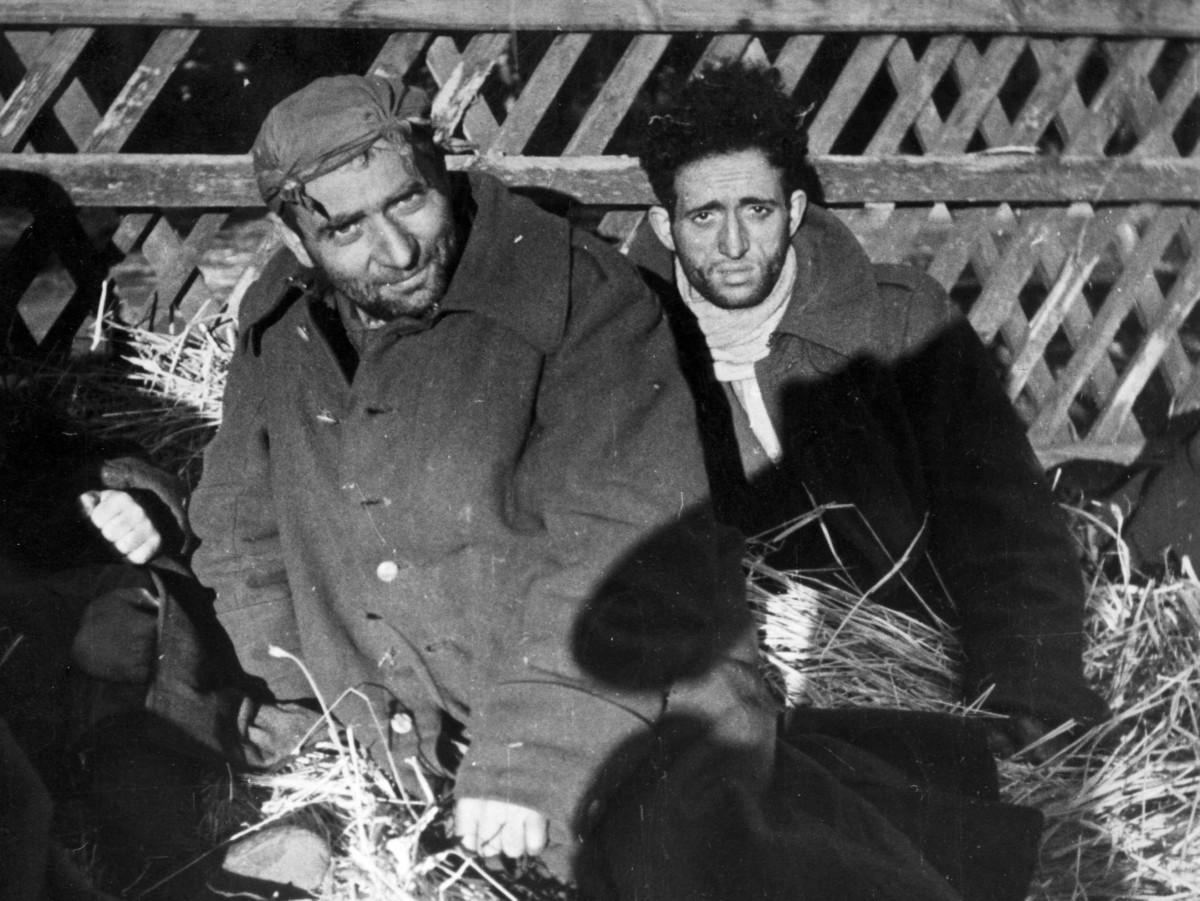Żydzi siedzący na sianie