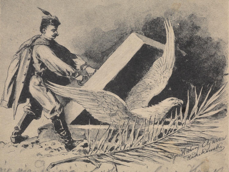 Polski żołnierz wypuszczający orła z niewoli