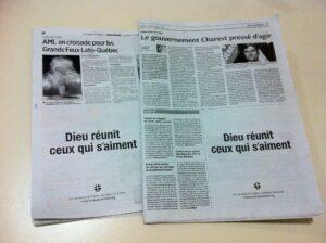 """Le Journal de Québec"" oraz ""Le Solei"" z reklamą z ocenzurowanymi słowami piosenki: ""Dieu réunit ceux qui s'aiment"""