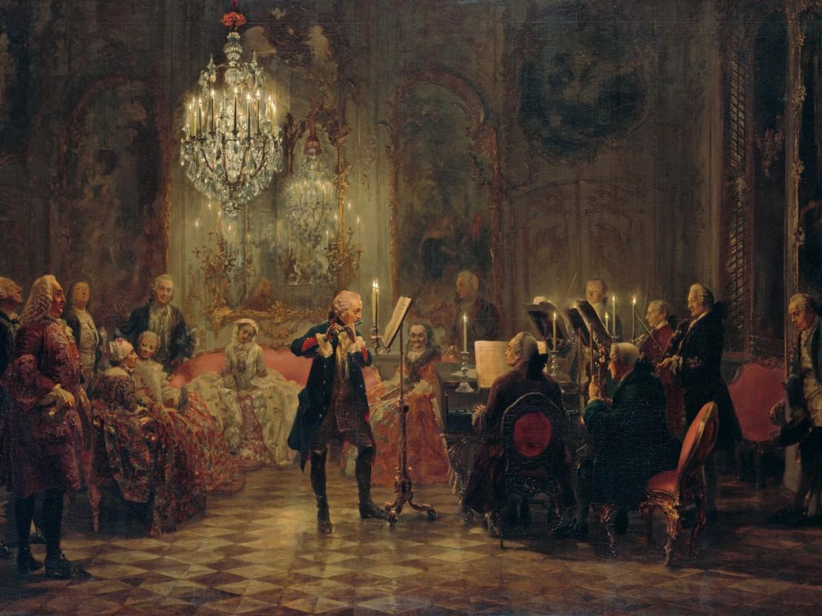 """Adolf Mentzel, """"Fryderyk Wielki gra na flecie w Sanssouci"""", 1852"""
