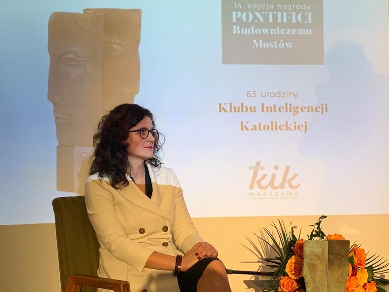 Prezydent Gdańska Aleksandra Dulkiewicz w siedzibie Klubu Inteligencji Katolickiej w Warszawie 24 października 2019 r.