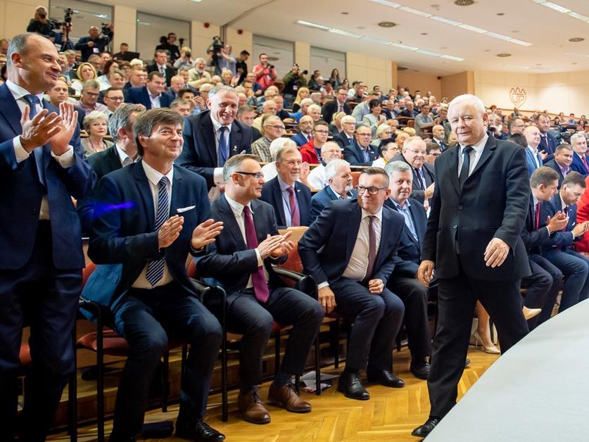 Jarosław Kaczyński podczas konwencji PiS w Bydgoszczy 19 września 2019 r.