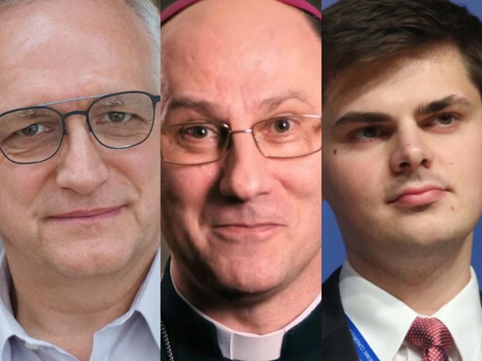Zbigniew Nosowski, abp Wojciech Polak i Maciej Tomecki